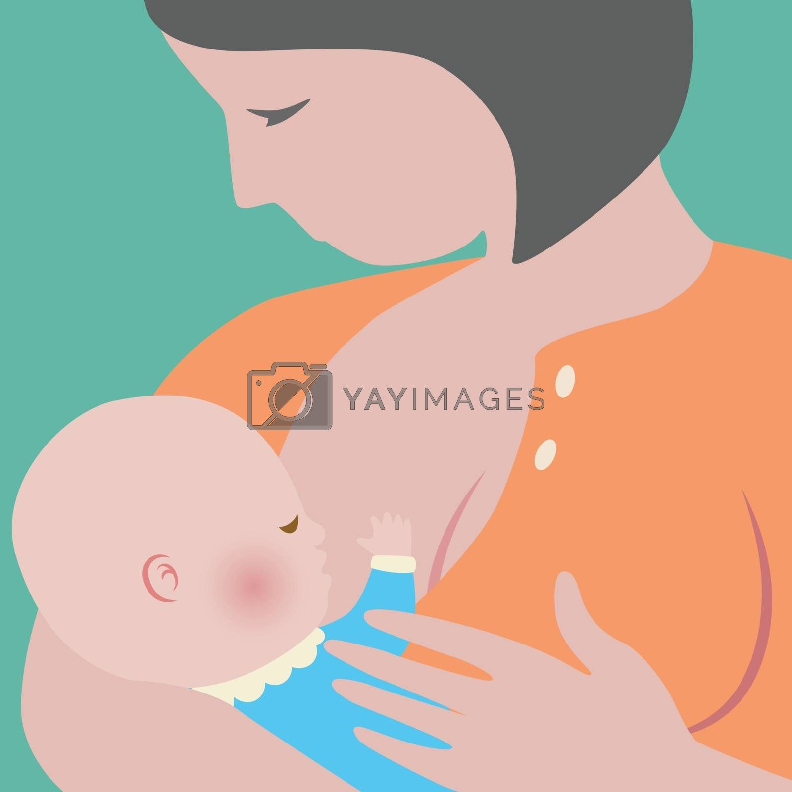 Mother holding her baby and breast feeding him with love and care