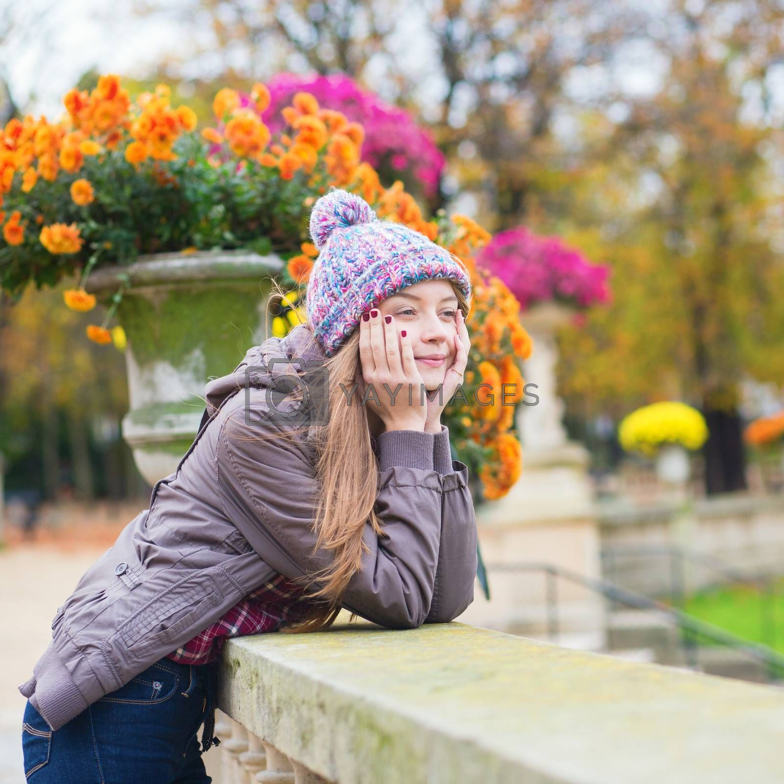 Young Parisian girl in the Luxembourg garden