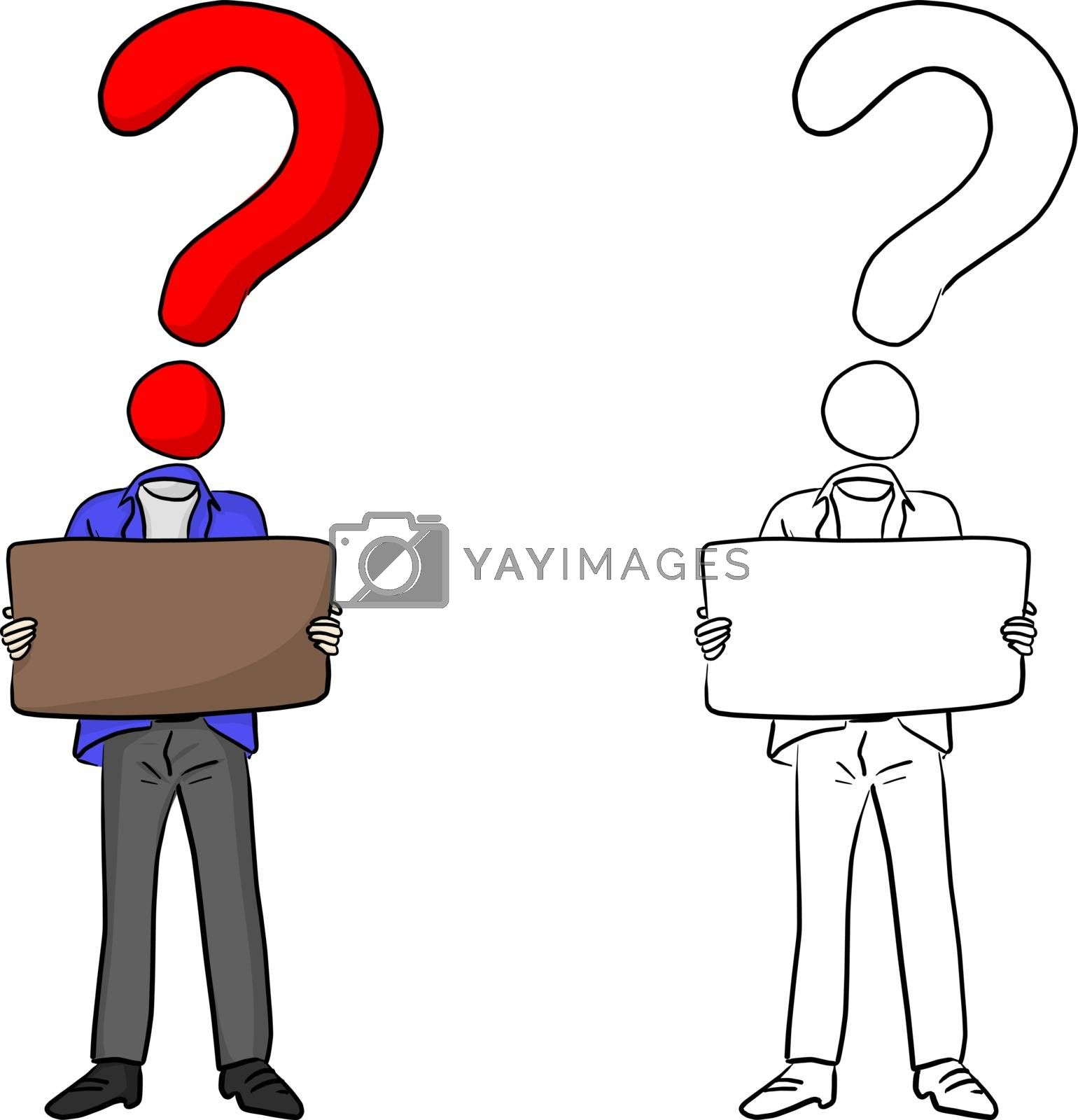 man with head of question mark holding brown blank sign vector illustration sketch doodle hand drawn isolated on white background