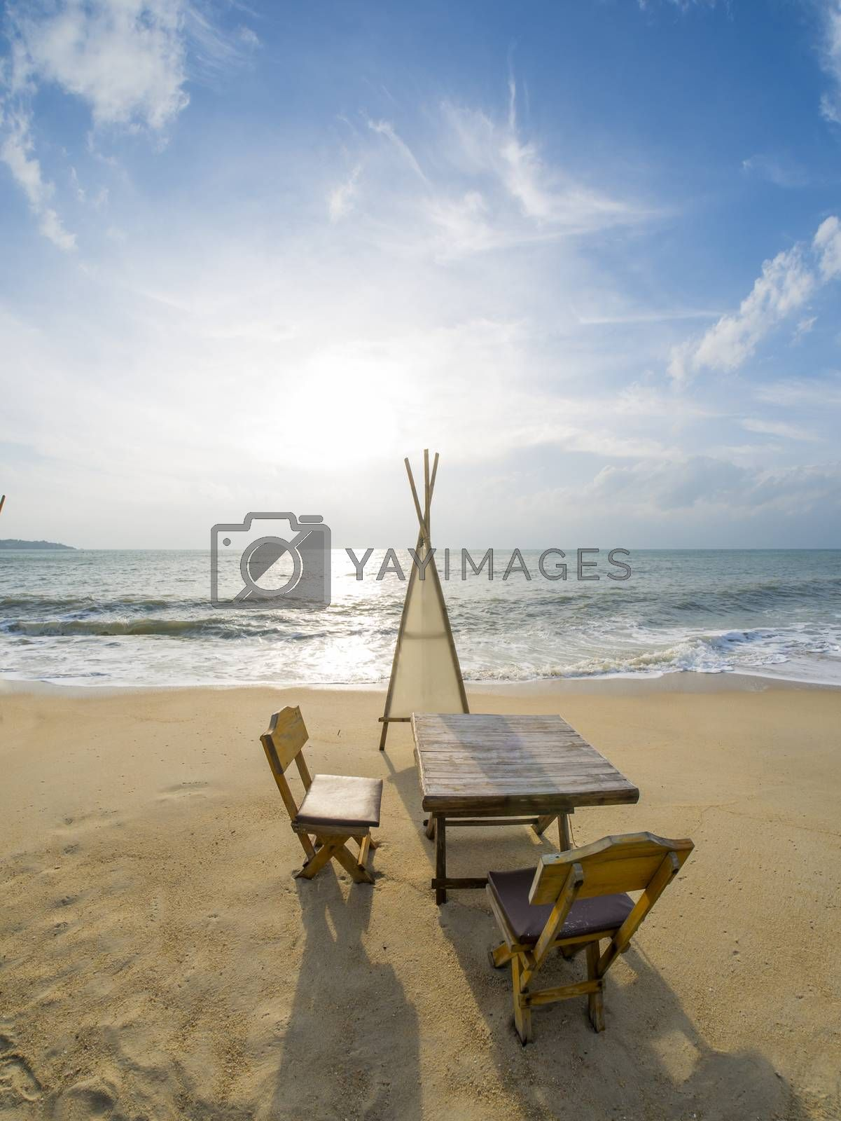 Dinning table on the tropical beach