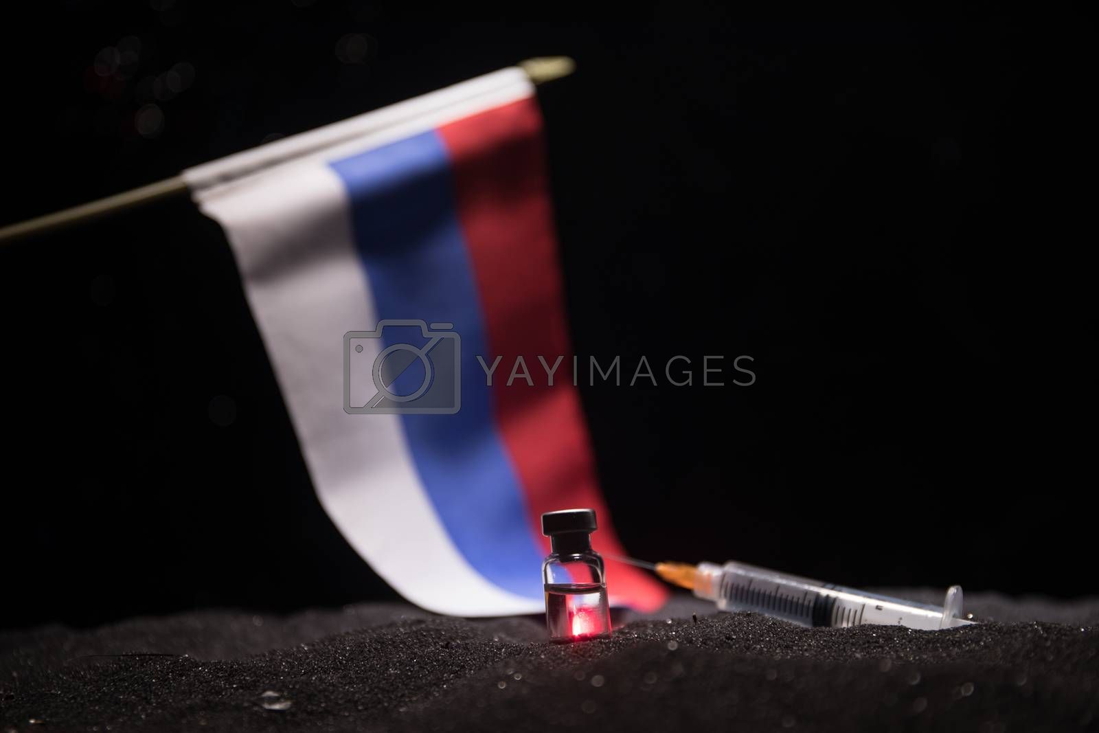 World Corona virus attack concept. Concept of fight against virus, danger and public health risk disease. National flags on dark background. Creative artwork decoration. Selective focus