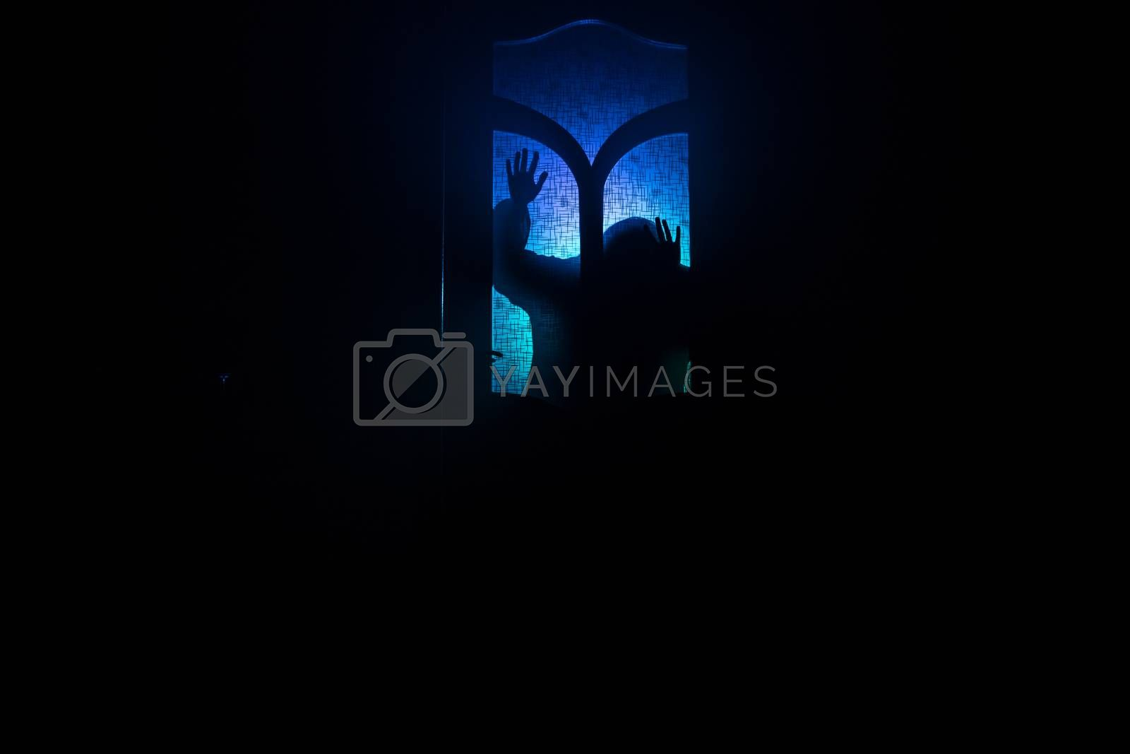 Silhouette of an unknown shadow figure on a door through a closed glass door. Spooky silhouette girl at night with smoke in background