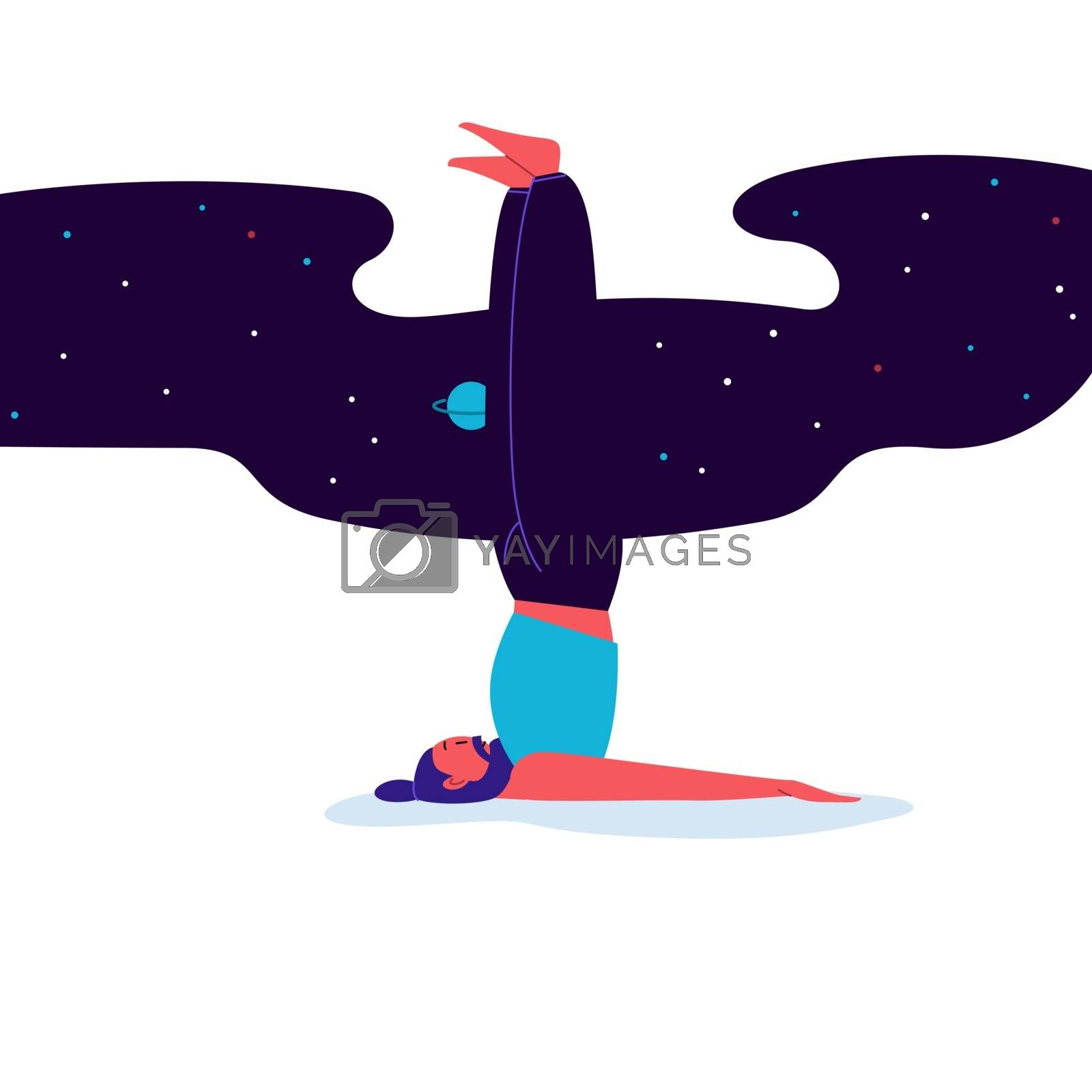 Flat and line illustration of a person practicing yoga with starry sky on the background