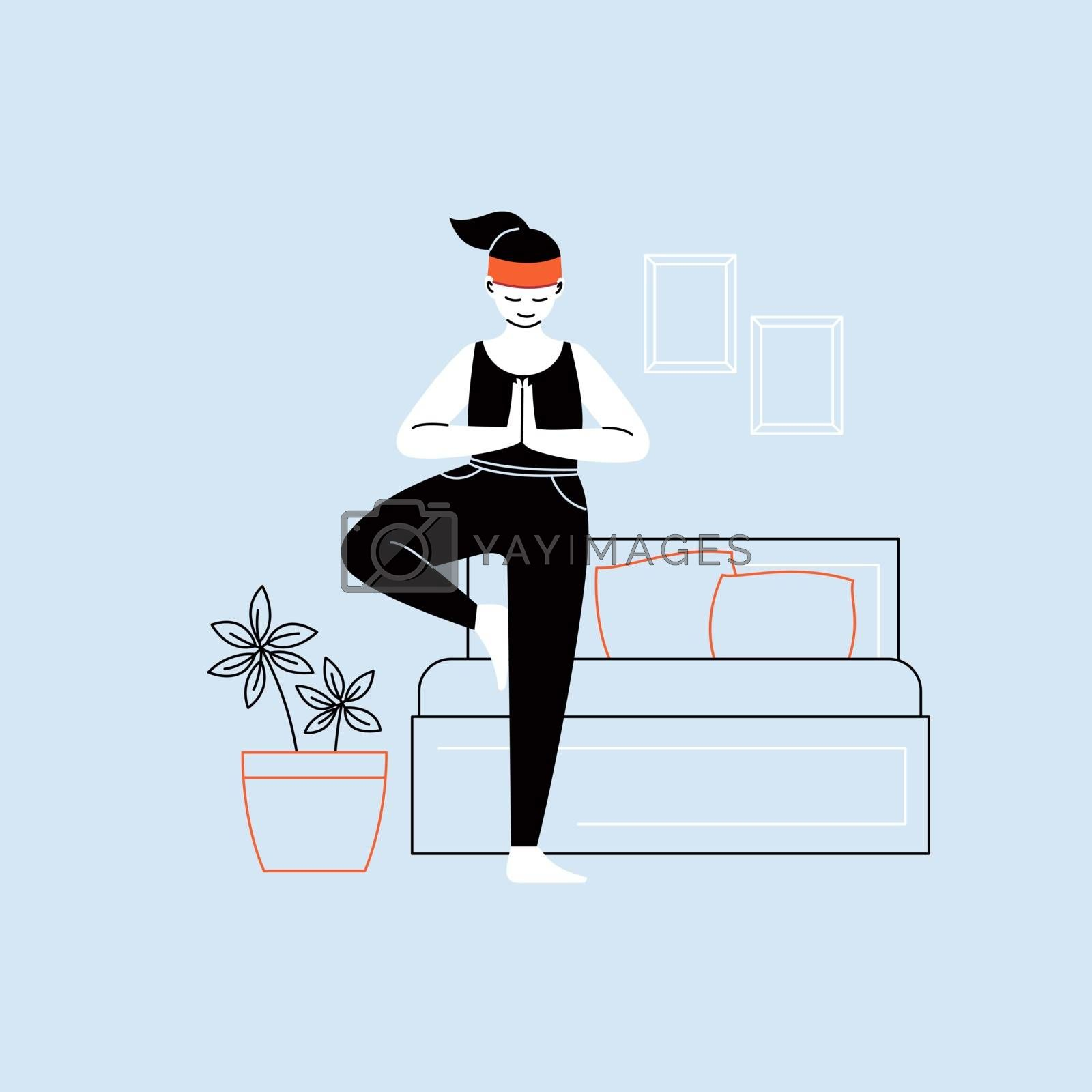 Flat and line character illustration of a person practicing yoga with a home interior on the background by Boeva
