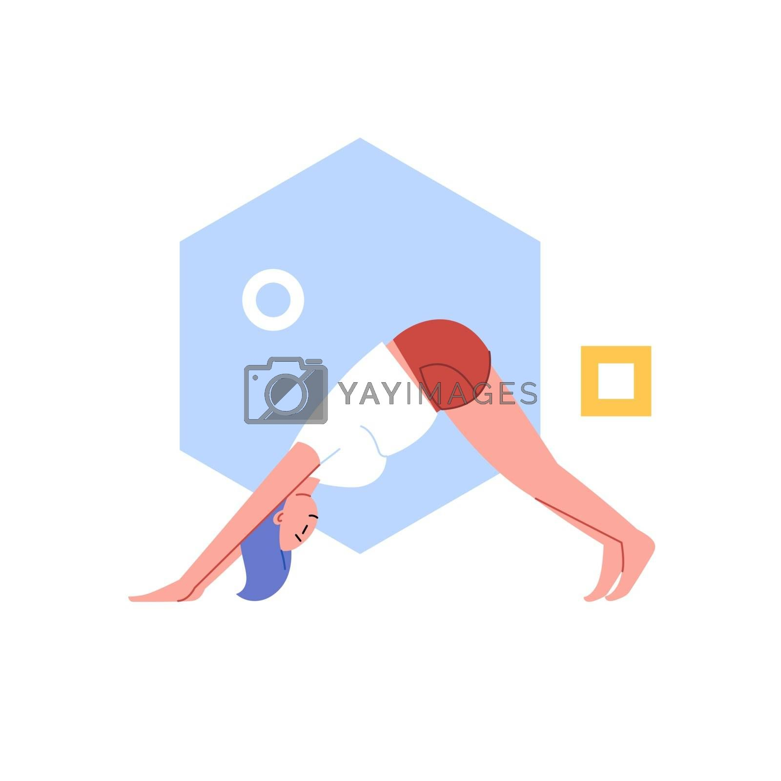 Flat and line illustration of a person practicing yoga with an abstract geometric background