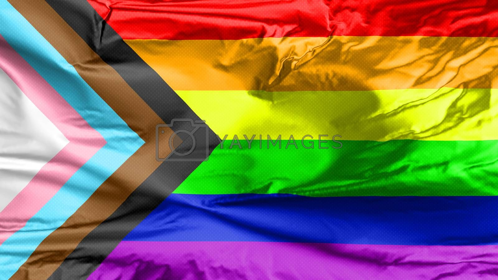 LGBT Rainbow Flag with inclusion and progression colors. Symbol of lesbian, gay, bisexual & transgender community. Black and brown stripes to represent marginalised LGBT also with the colours pink, light blue and white, which are sign of the Transgender Pride Flag.