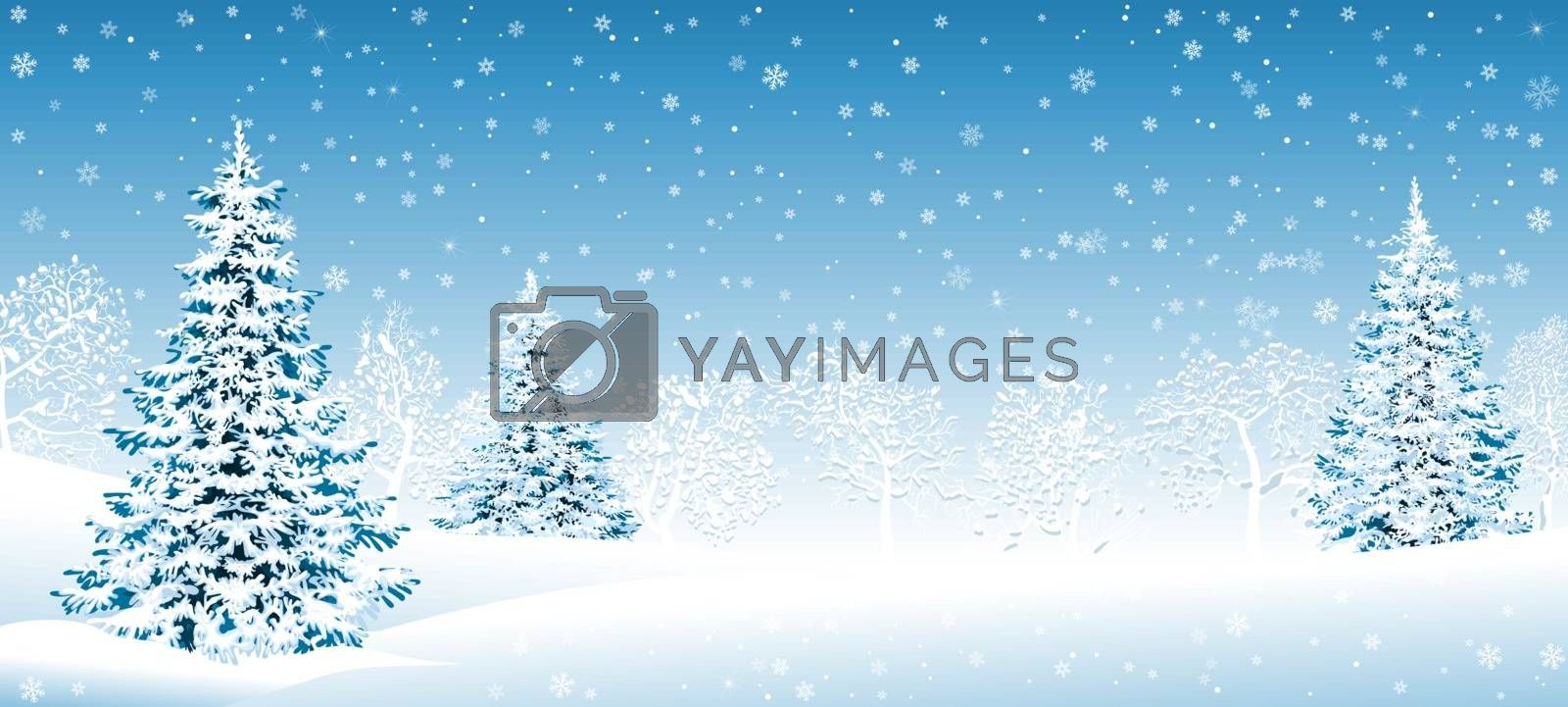 Snowy forest Christmas winter background by liolle