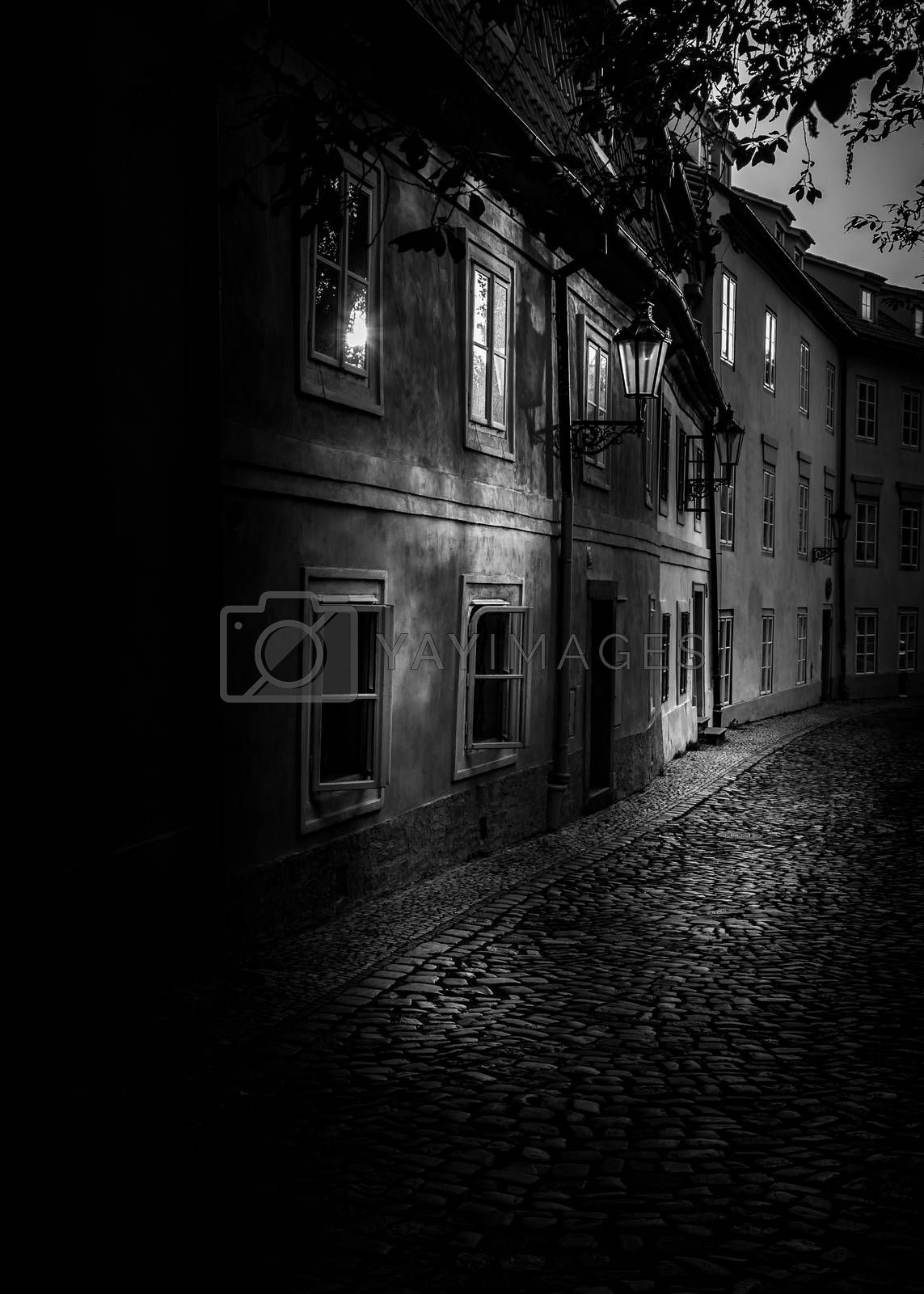 Black and white picturesque corner of old Prague, Czech Republic