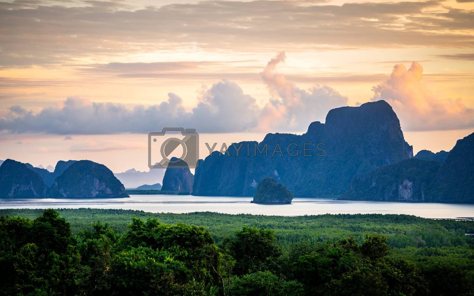 Islands at Samed Nang Chee beach at sunrise. by jack-sooksan