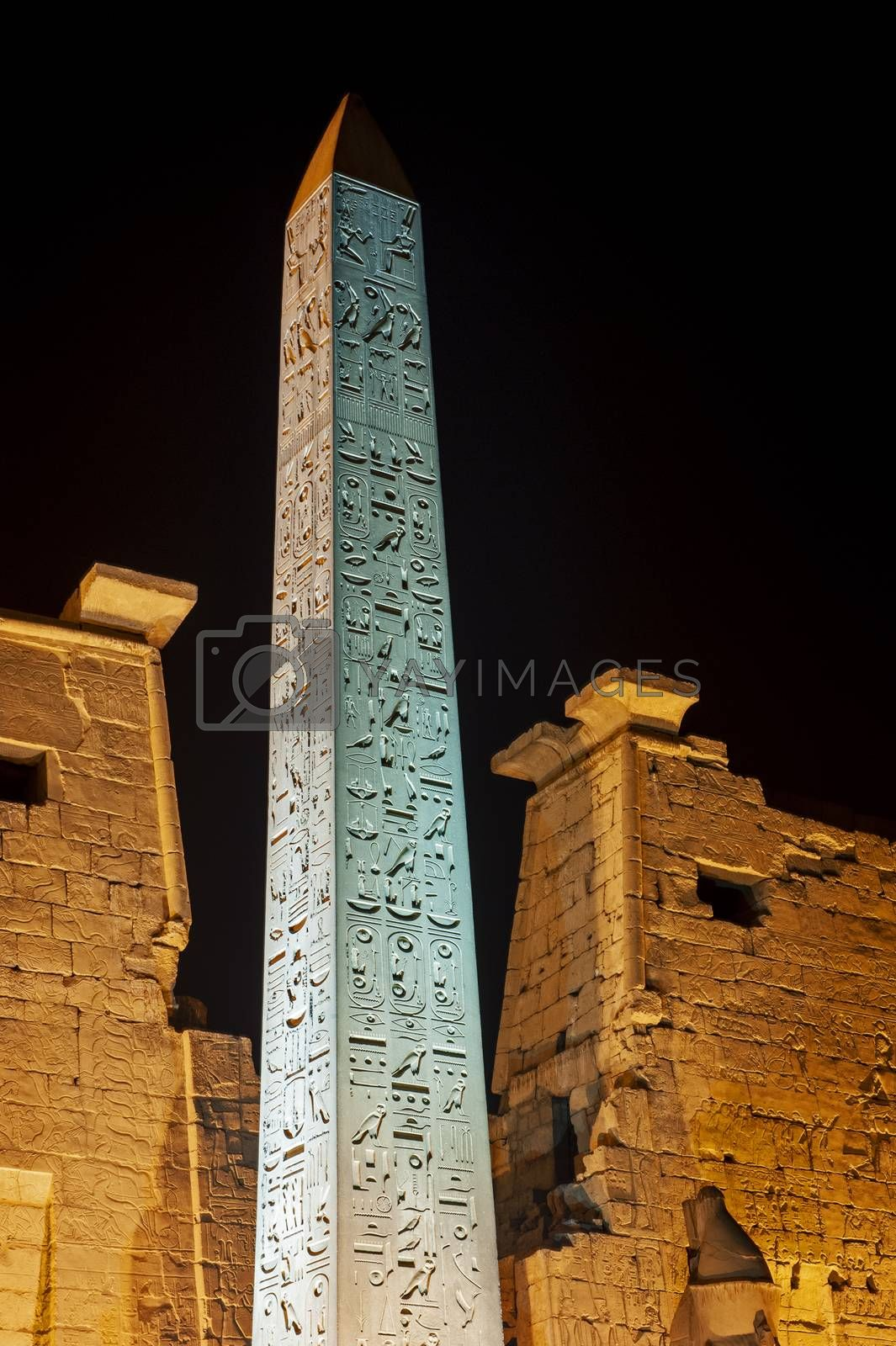 Large obelisk at entrance pylon to ancient egyptian Luxor Temple lit up during night