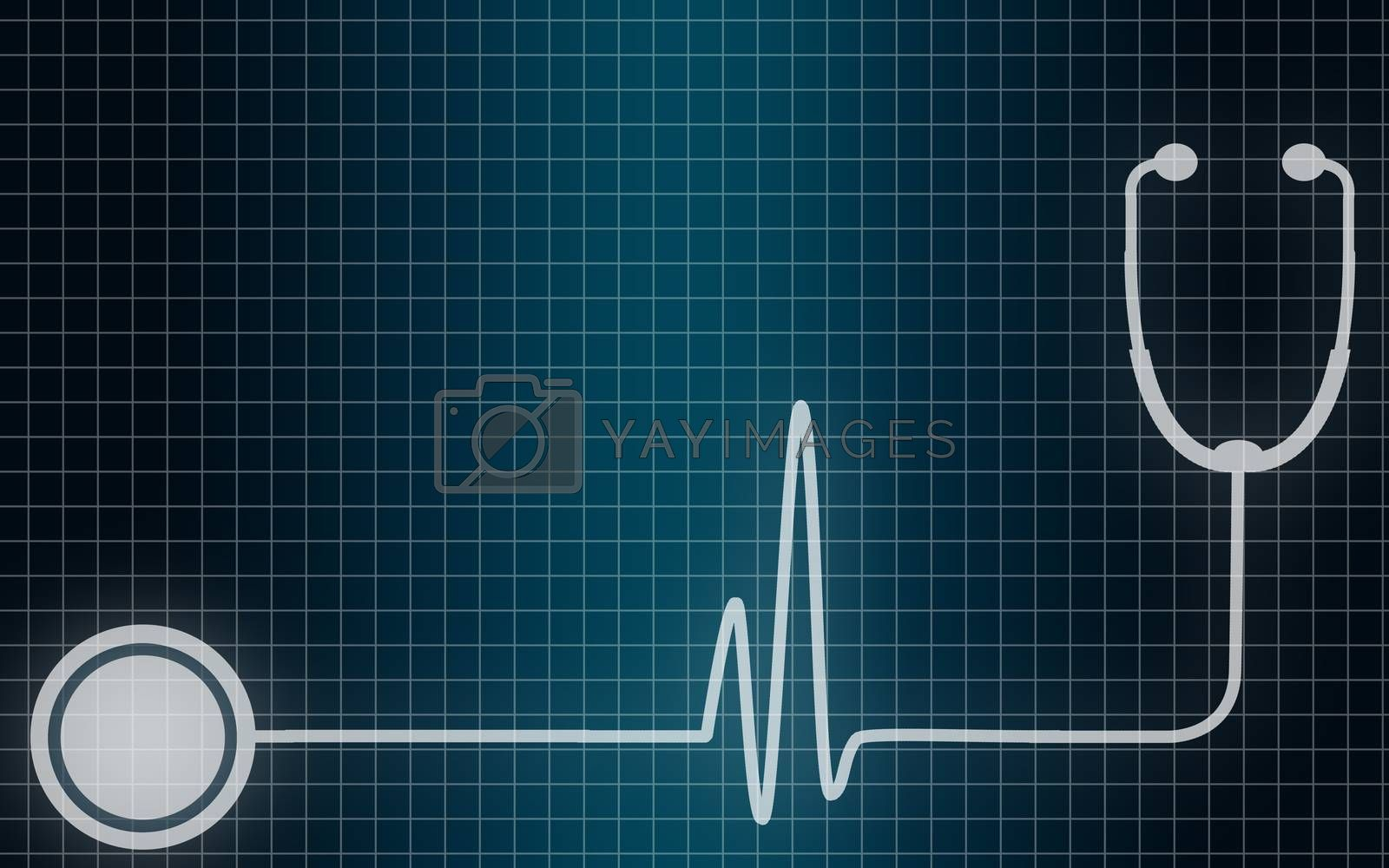 Stethoscope with a heart beat cardiogram,3D rendering