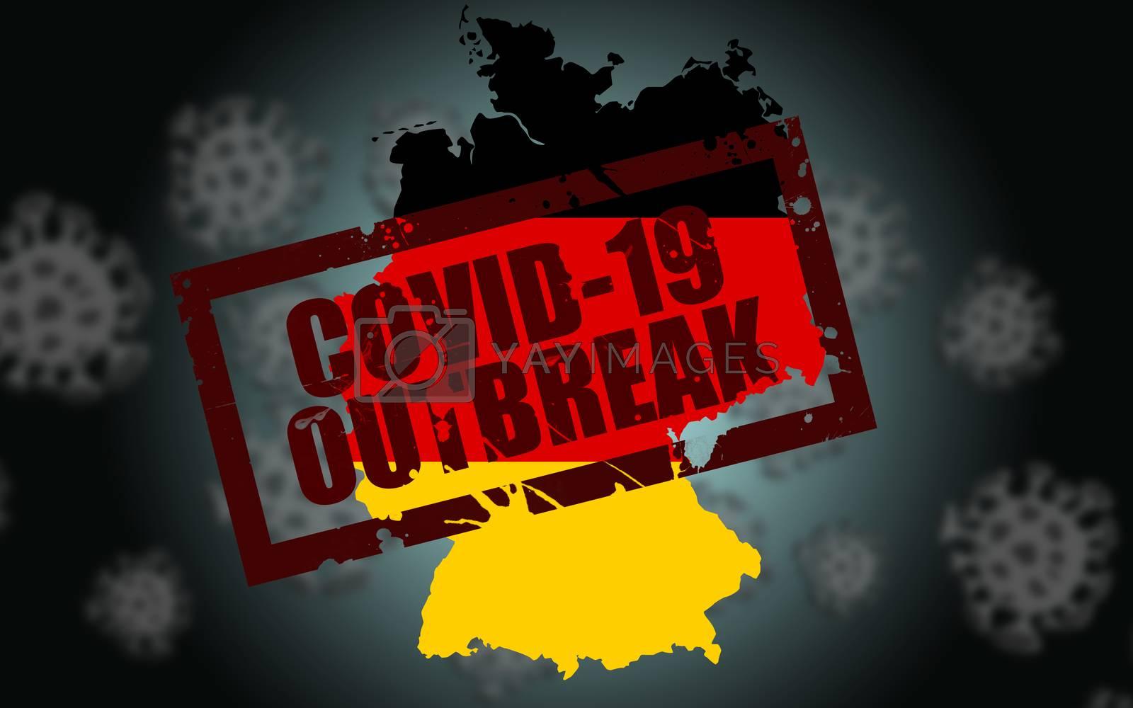 Covid-19 virus outbreak in Germany. 3d rendering.