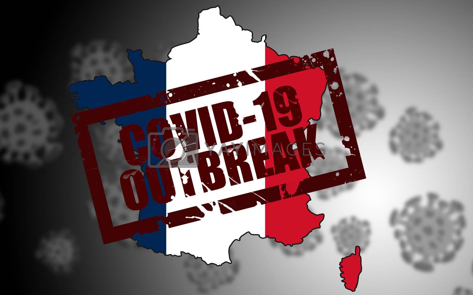 Covid-19 virus outbreak in France. 3d rendering