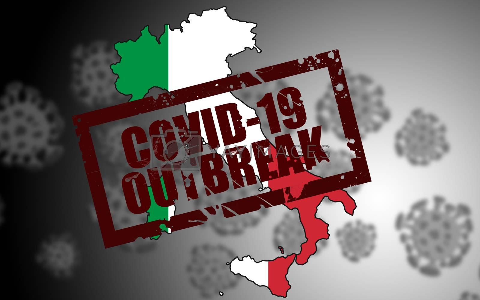 Covid-19 virus outbreak in Italy. 3d rendering