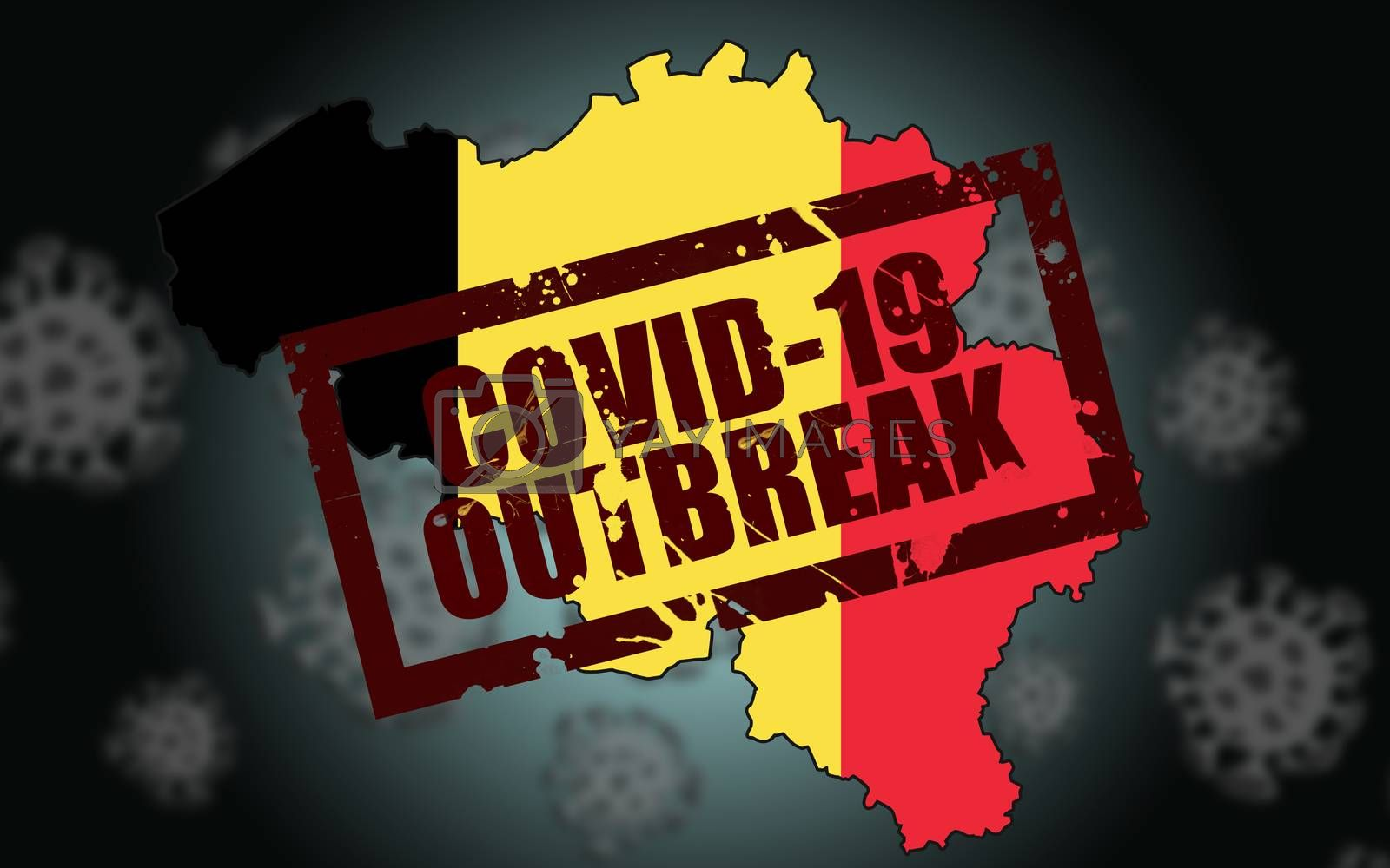 Covid-19 virus outbreak in Belgium. 3d rendering