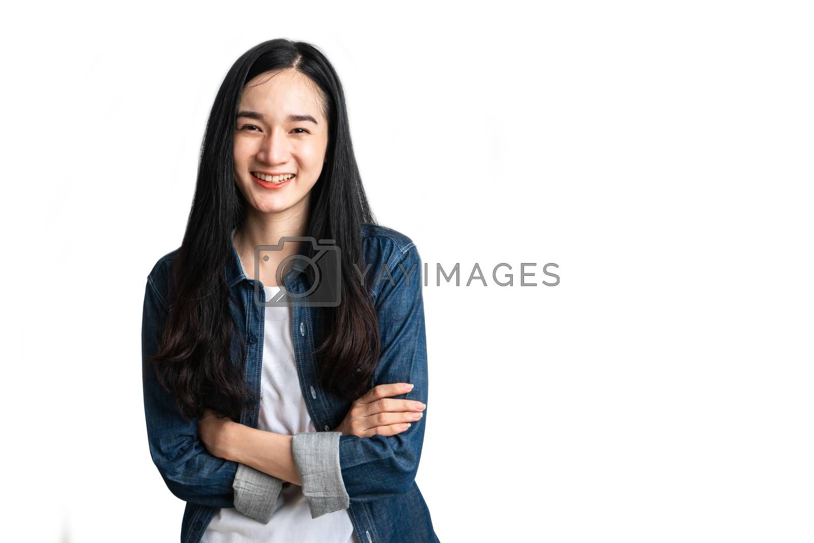 Portrait confident woman smile with clipping path.