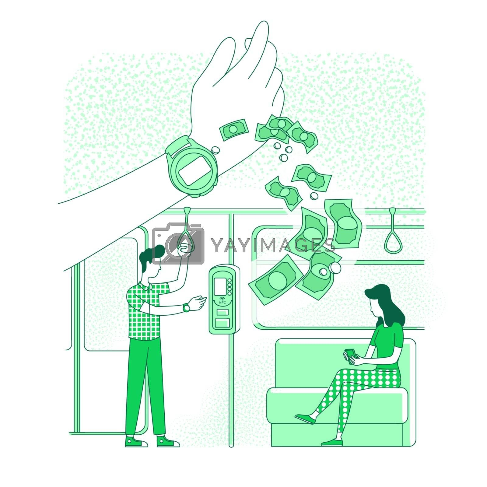 Wearable device, smart clock thin line concept vector illustration. Metro passengers, people buying e-tickets 2D cartoon characters for web design. RFID tech, cashless payment service creative idea