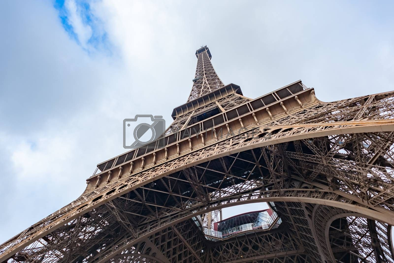 Eiffel tower low wide angle view in Paris, France