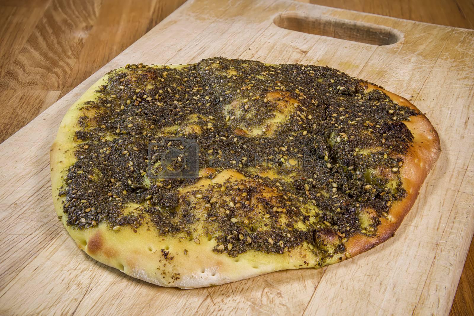 Plain tasty zaatar manakish, arabic cuisine and food