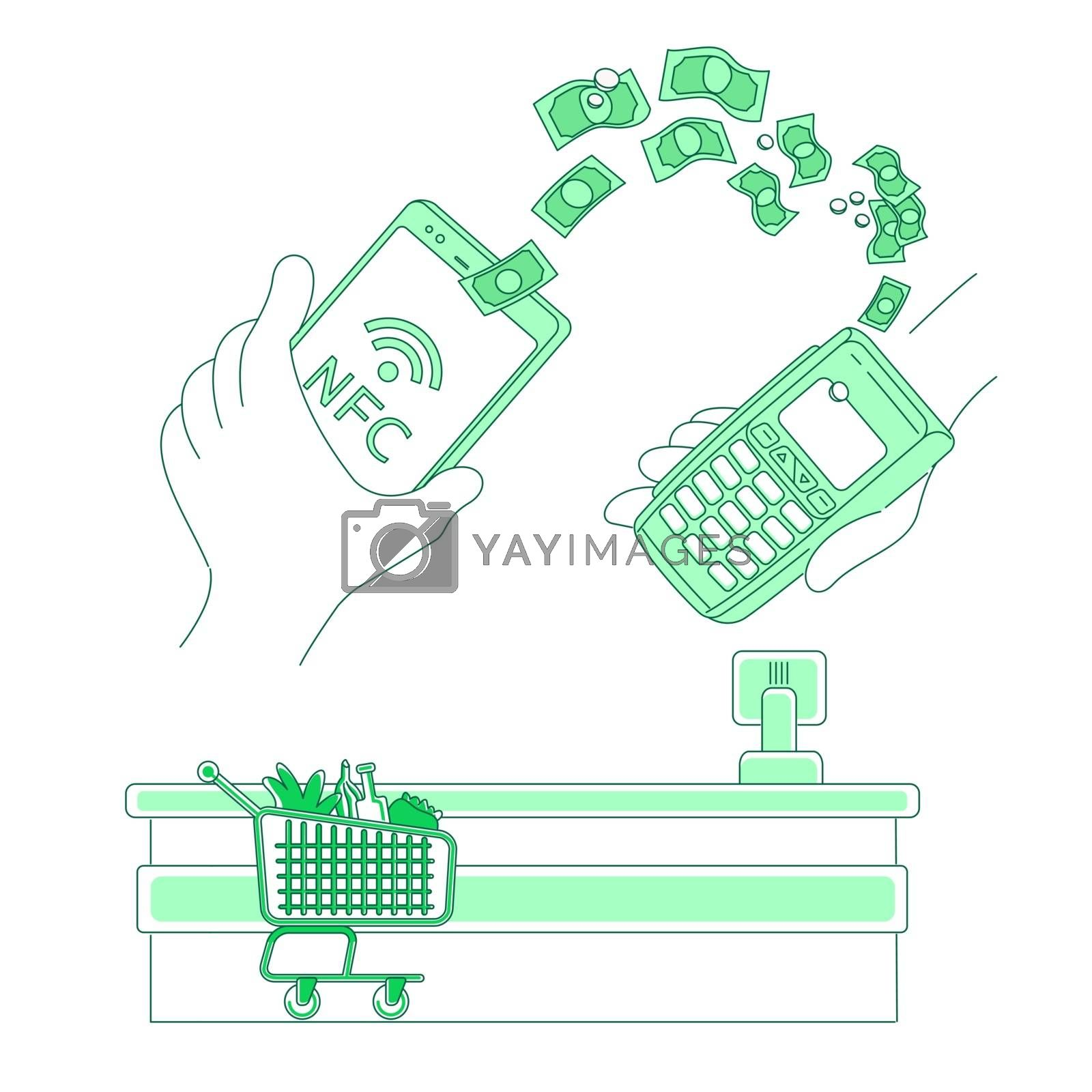 E-payment terminal thin line concept vector illustration. Mobile payment, people with smart devices 2D cartoon characters for web design. NFC pay, money transfer, e-wallet application creative idea