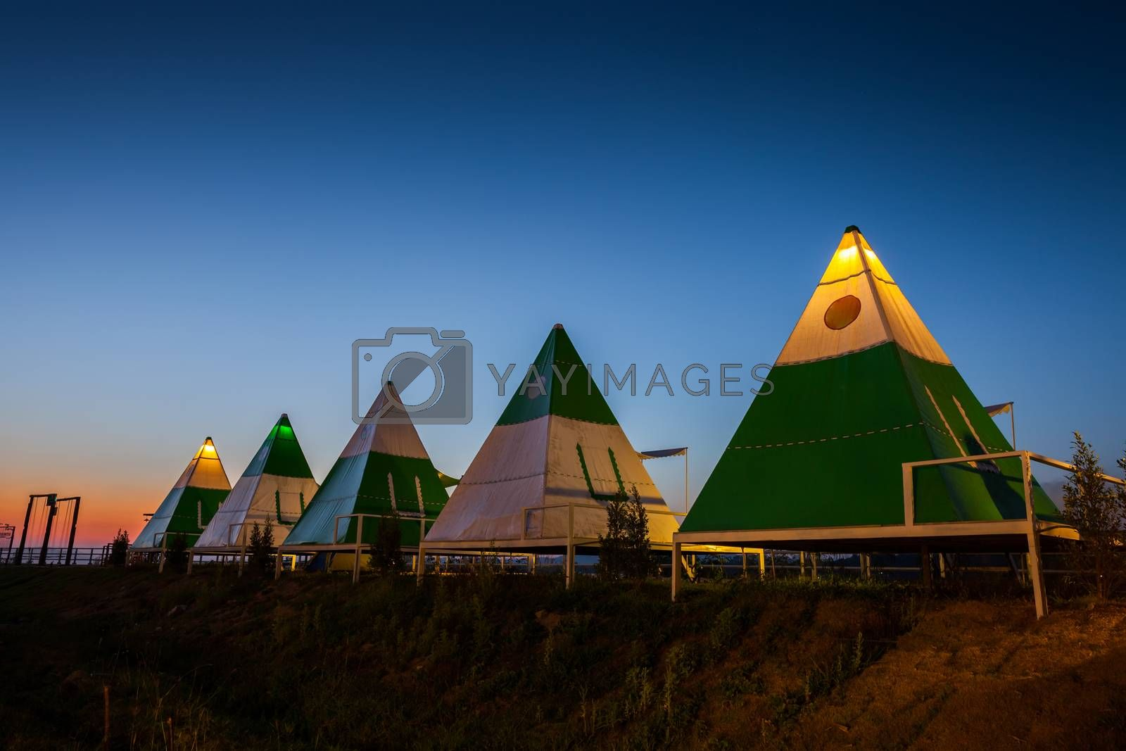 Camping tent on green grass field under clear sky at night time
