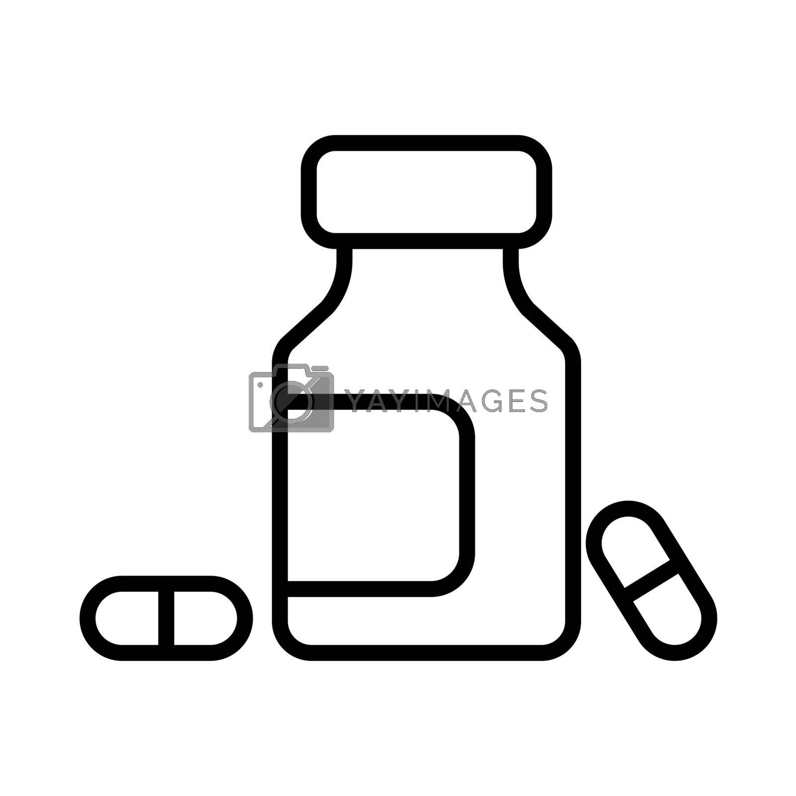 Medicine bottle and pills vector icon. Medicament. Medicine and medical support sign. Graph symbol for medical web site and apps design, logo, app, UI