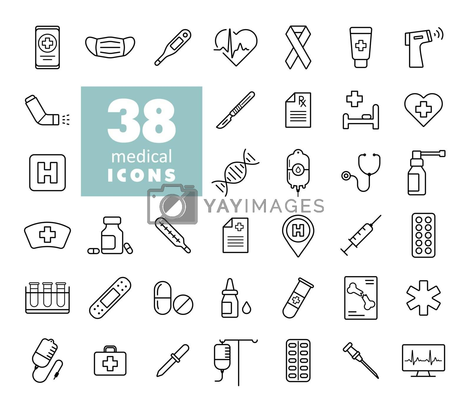 Medical vector icons set. Medicine and healthcare, medical support sign. Graph symbol for medical web site and apps design, logo, app, UI