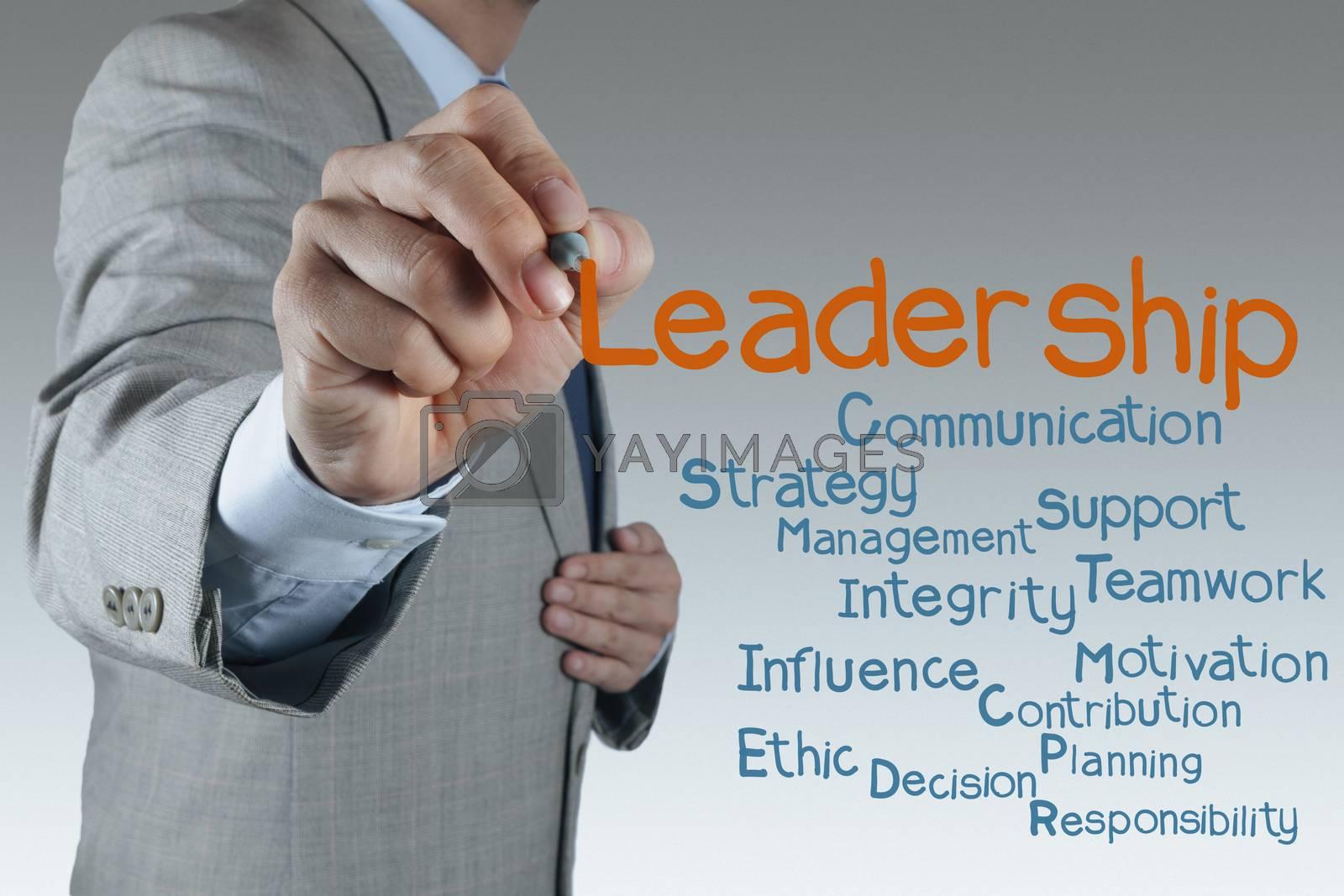 businessman hand shows light as leadership concept