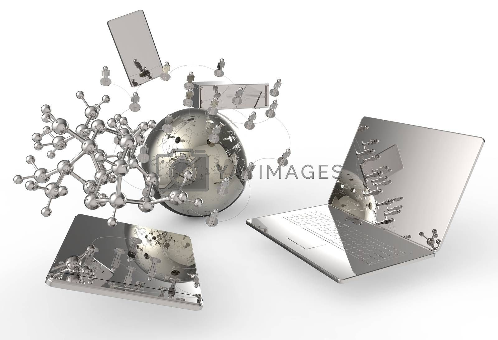 technology concept 3d on white background