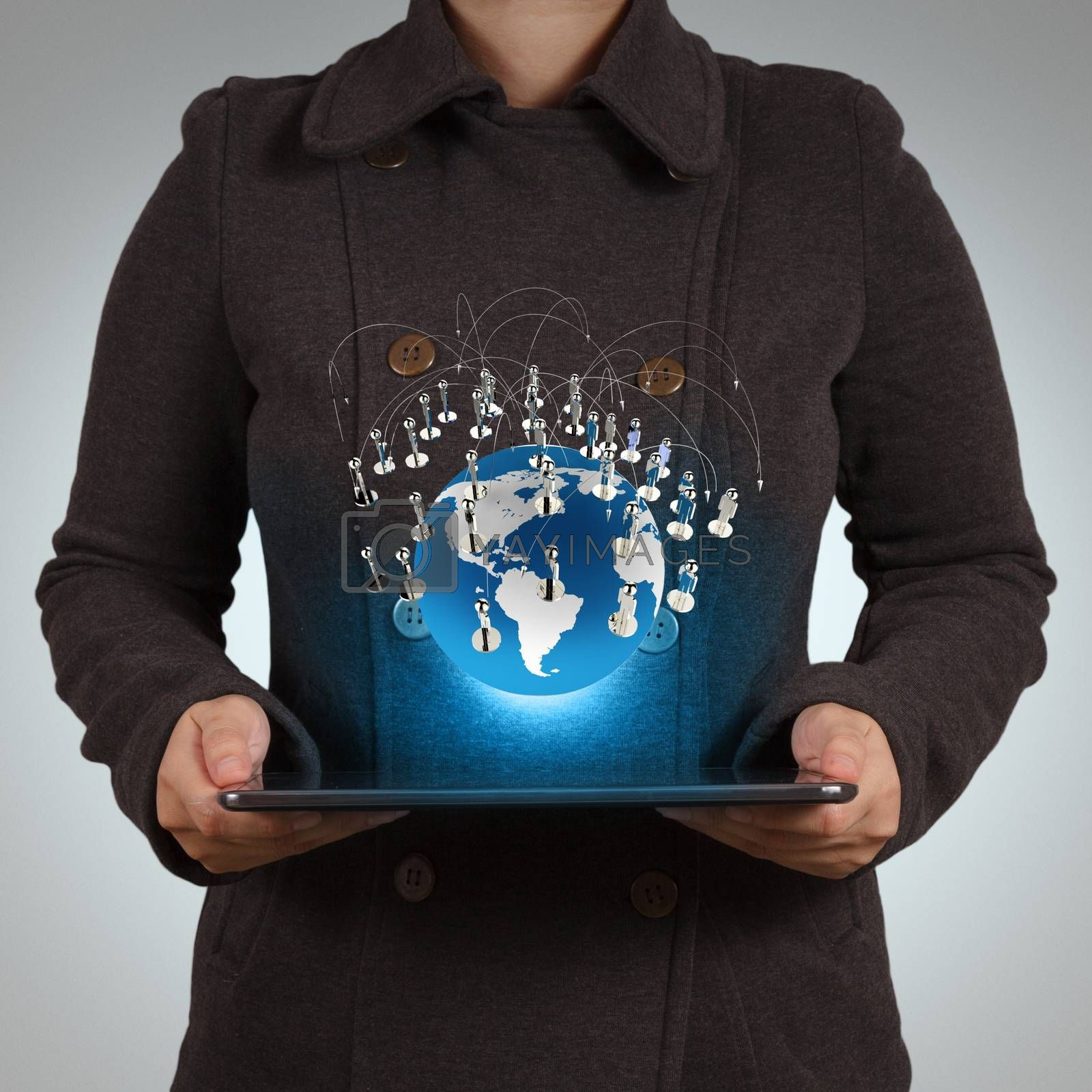 businesswoman using tablet computer shows social network concept