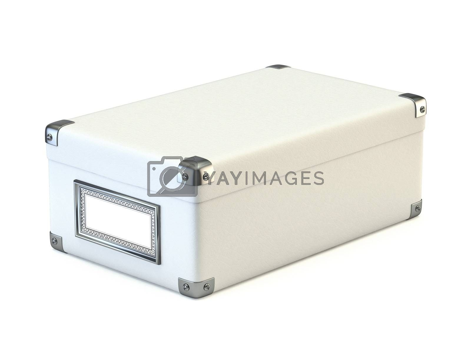 White box with metal corners 3D render illustration isolated on white background