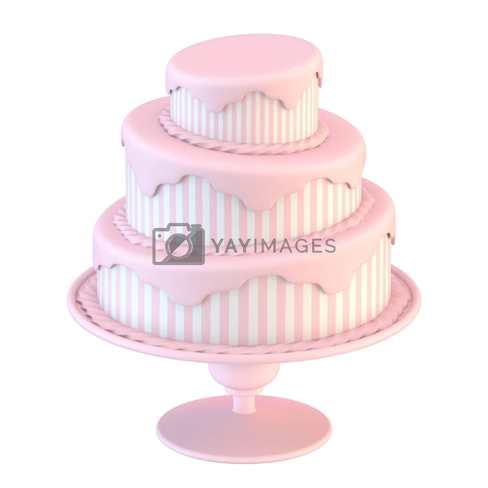 Pink white cake with stripes 3D render illustration isolated on white background