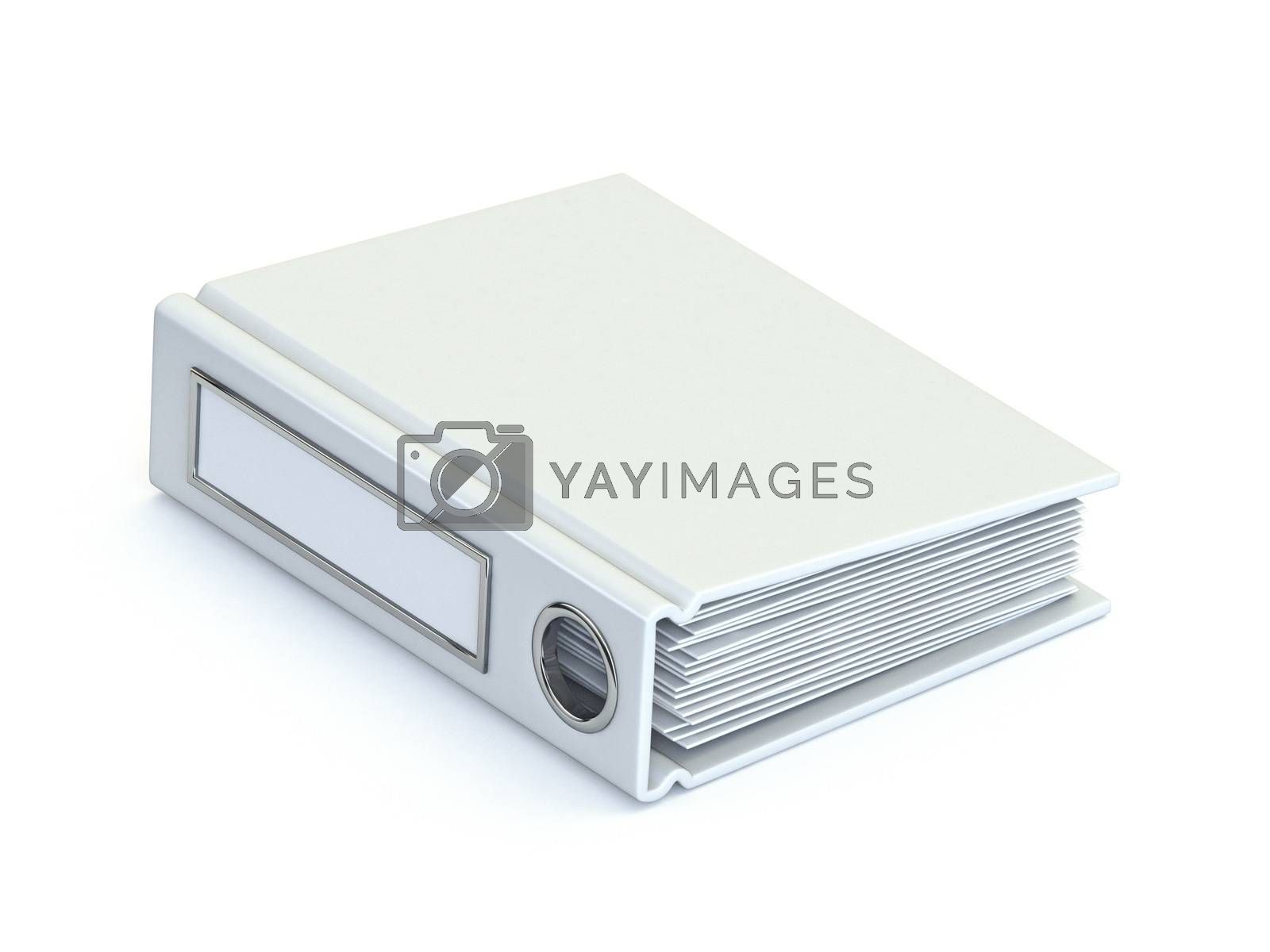 White office folder 3D render illustration isolated on white background