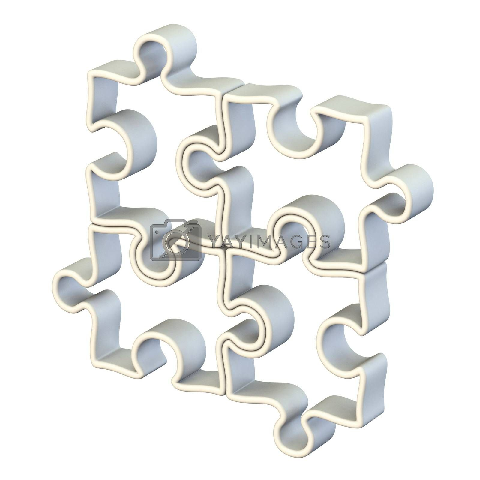 Four white jigsaw puzzle 3D render illustration isolated on white background