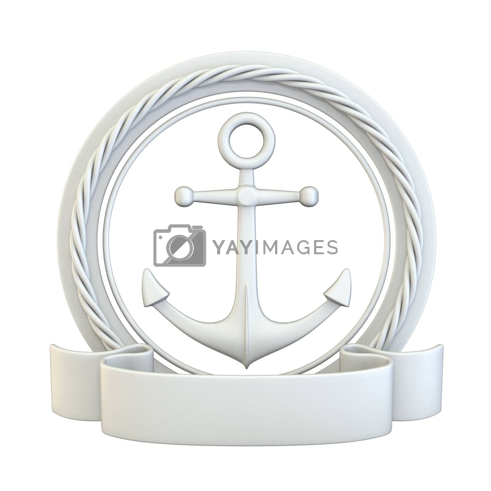 White anchor, ribbon and rope 3D render illustration isolated on white background