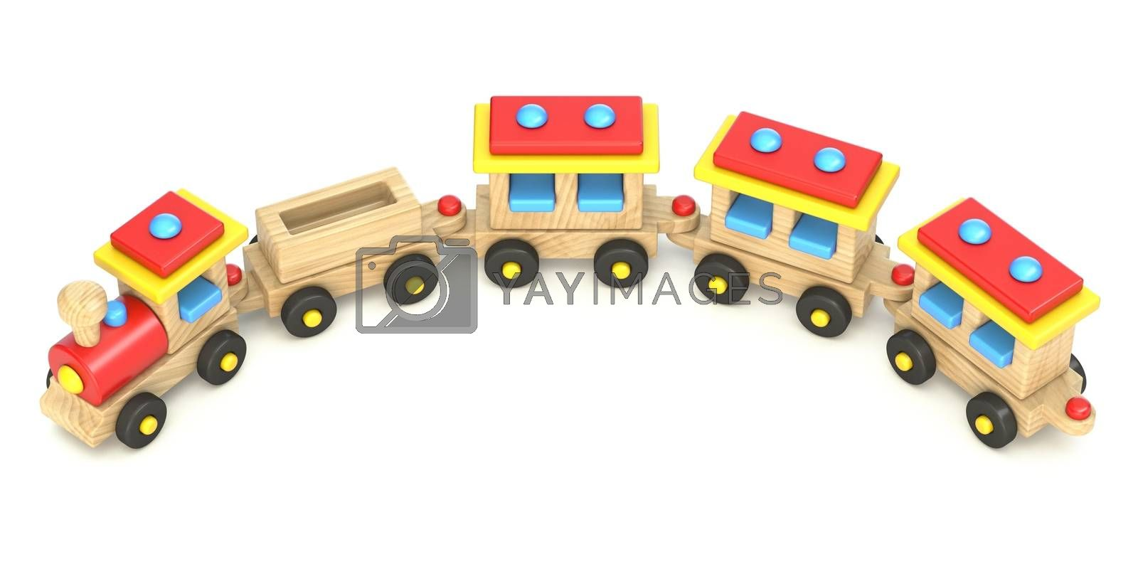 Wooden train 3D render illustration isolated on white background