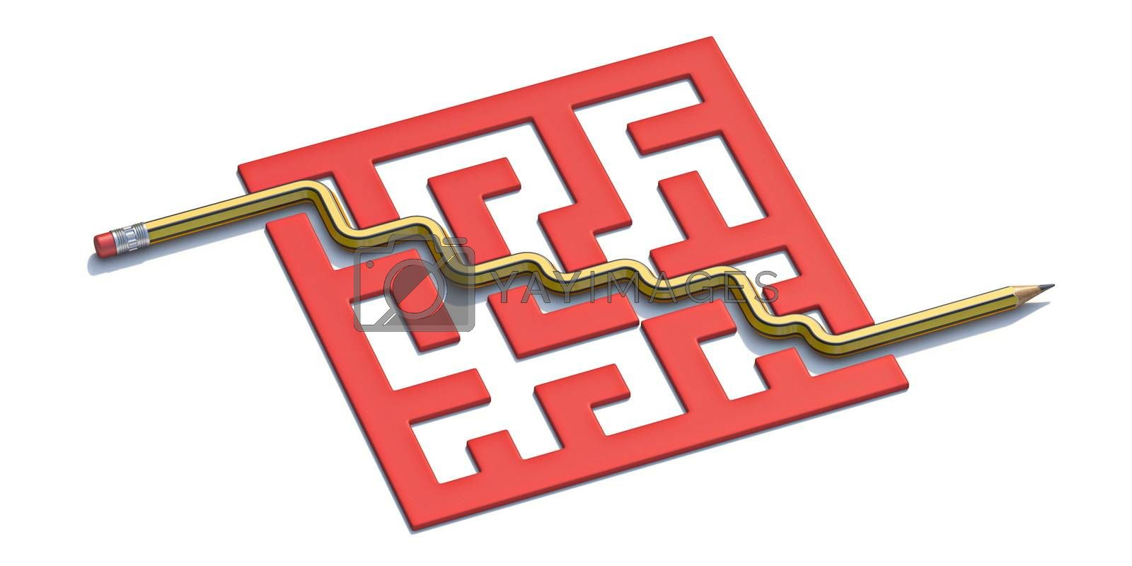 Pencil and red labyrinth 3D render illustration isolated on white background