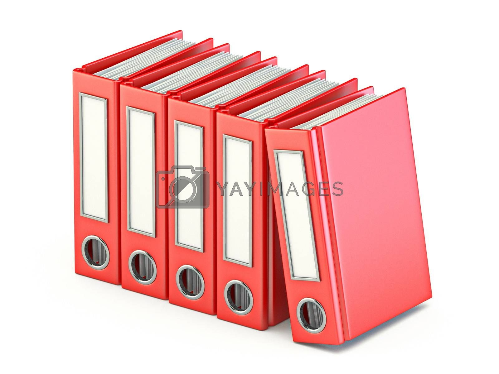 Red file ring binders 3D render illustration isolated on white background