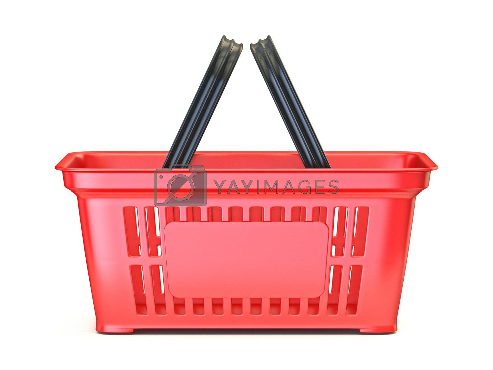 Red shopping basket Side view 3D render illustration isolated on white background