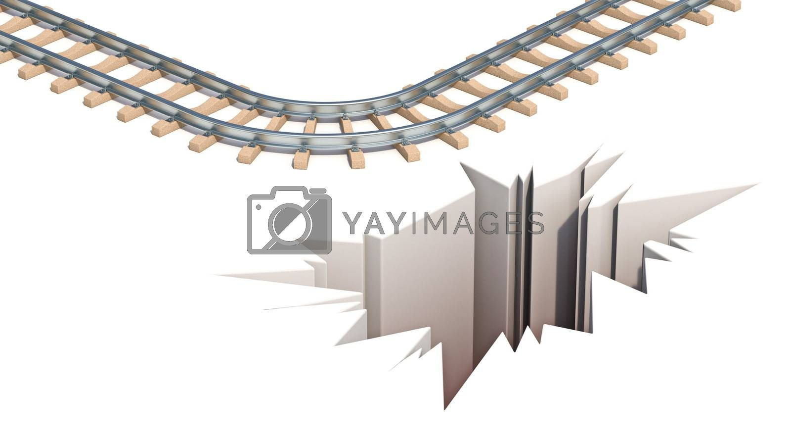 Railway escape hole 3D render illustration isolated on white background
