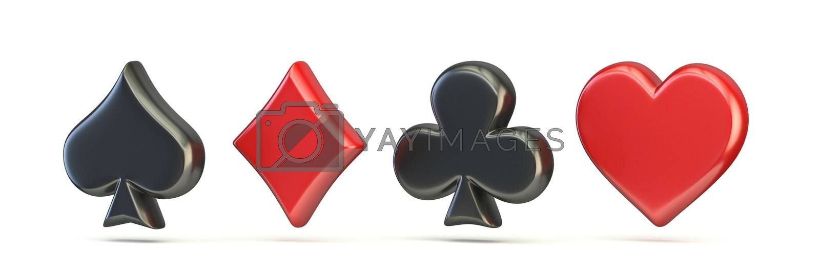 Spade, diamond, club and heart 3D render illustration isolated on white background