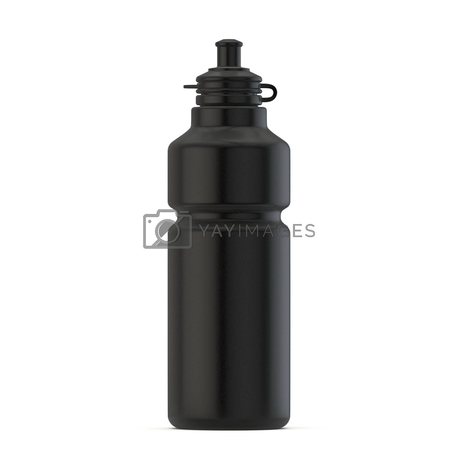 Black sport water bottle 3D render illustration isolated on white background
