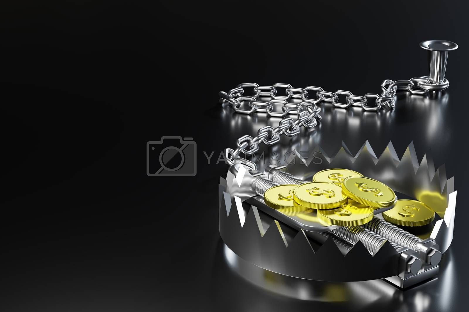 The gold dollar coin is bait in a bear trap and the trap is chained by an iron chain to an anchor in black background. Concept of the danger of pitfall while doing business. 3D illustration rendering.