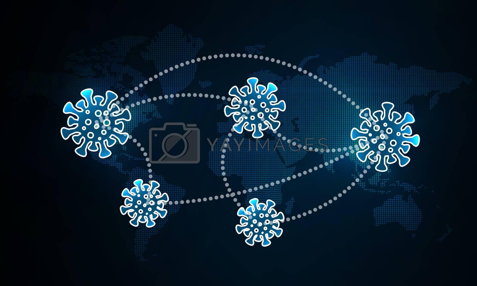 Spread of the pandemic virus worldwide, 3d rendering