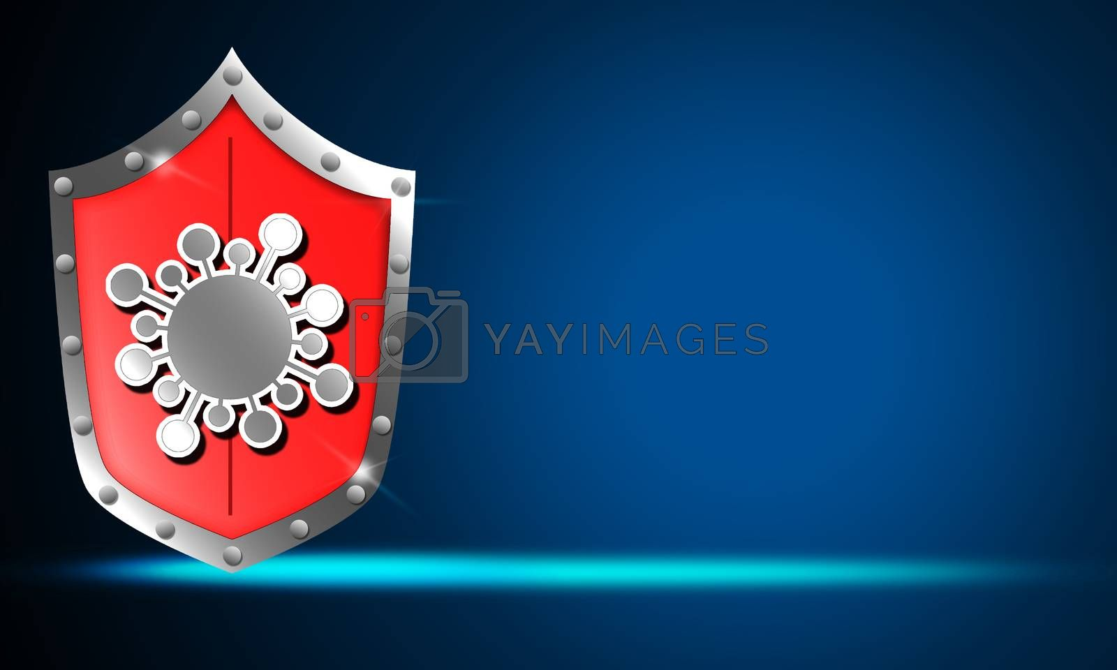 Security shield for virus protection, 3d rendering