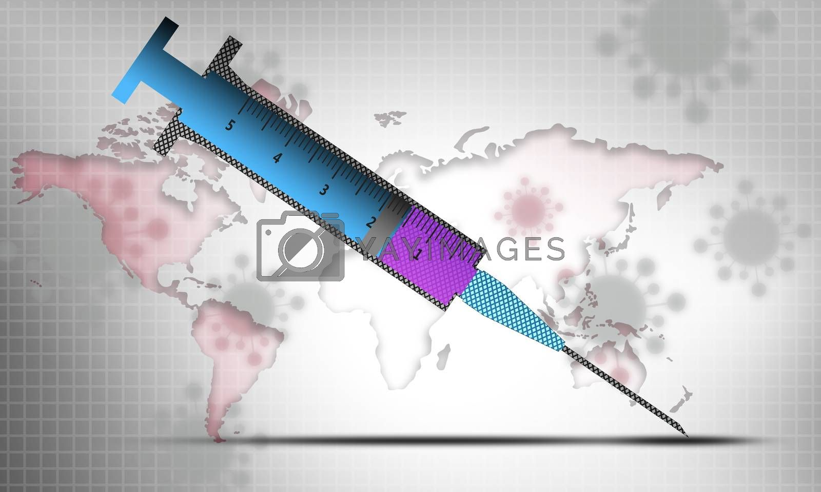 Syringe and virus on world map as background. 3D rendering