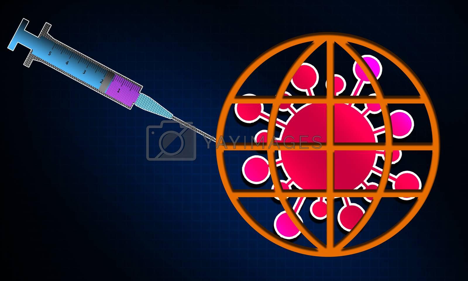 Syringe and virus on globe symbol. 3D rendering
