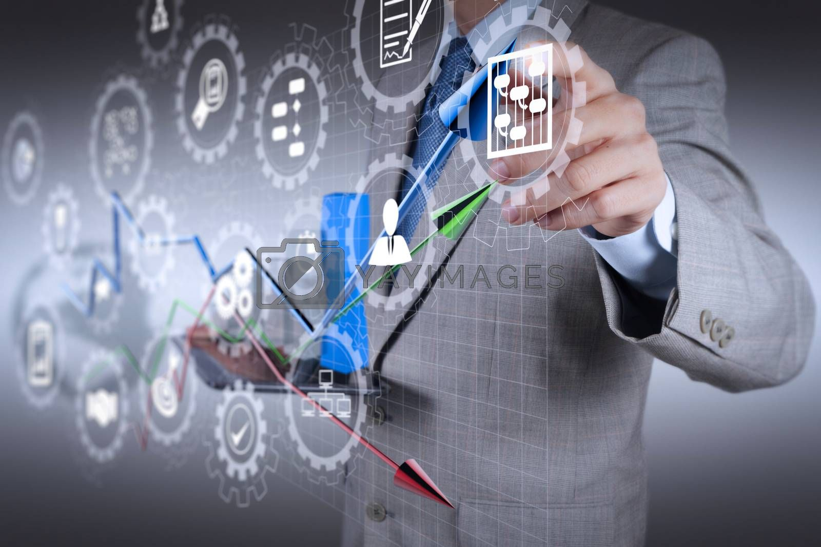 AR virtual screen dashboard with project management with icons of scheduling, budgeting, communication.businessman hand drawing a pie chart and 3d graph