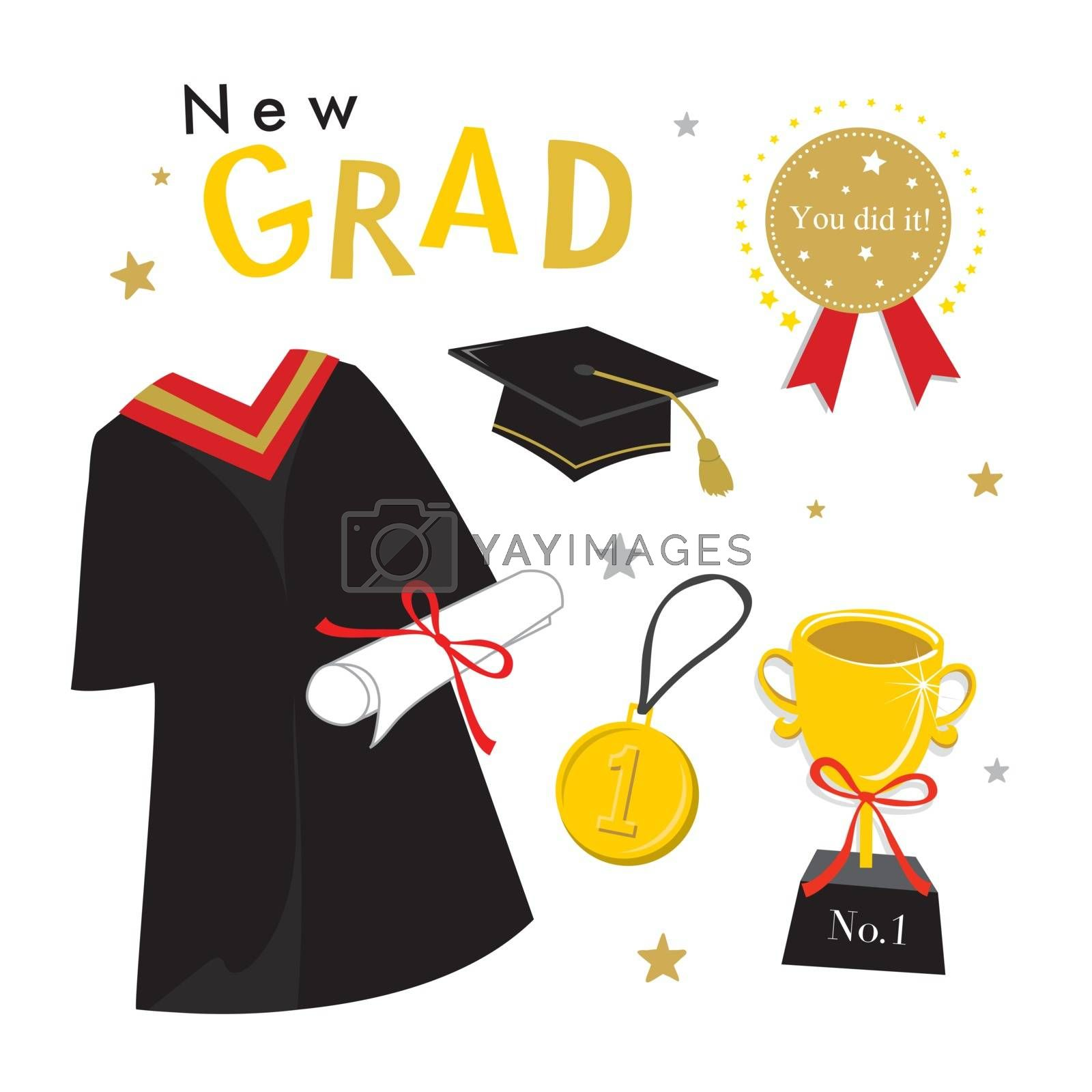Graduation Day Vector Icon, set of Celebration Elements in Flat Design.