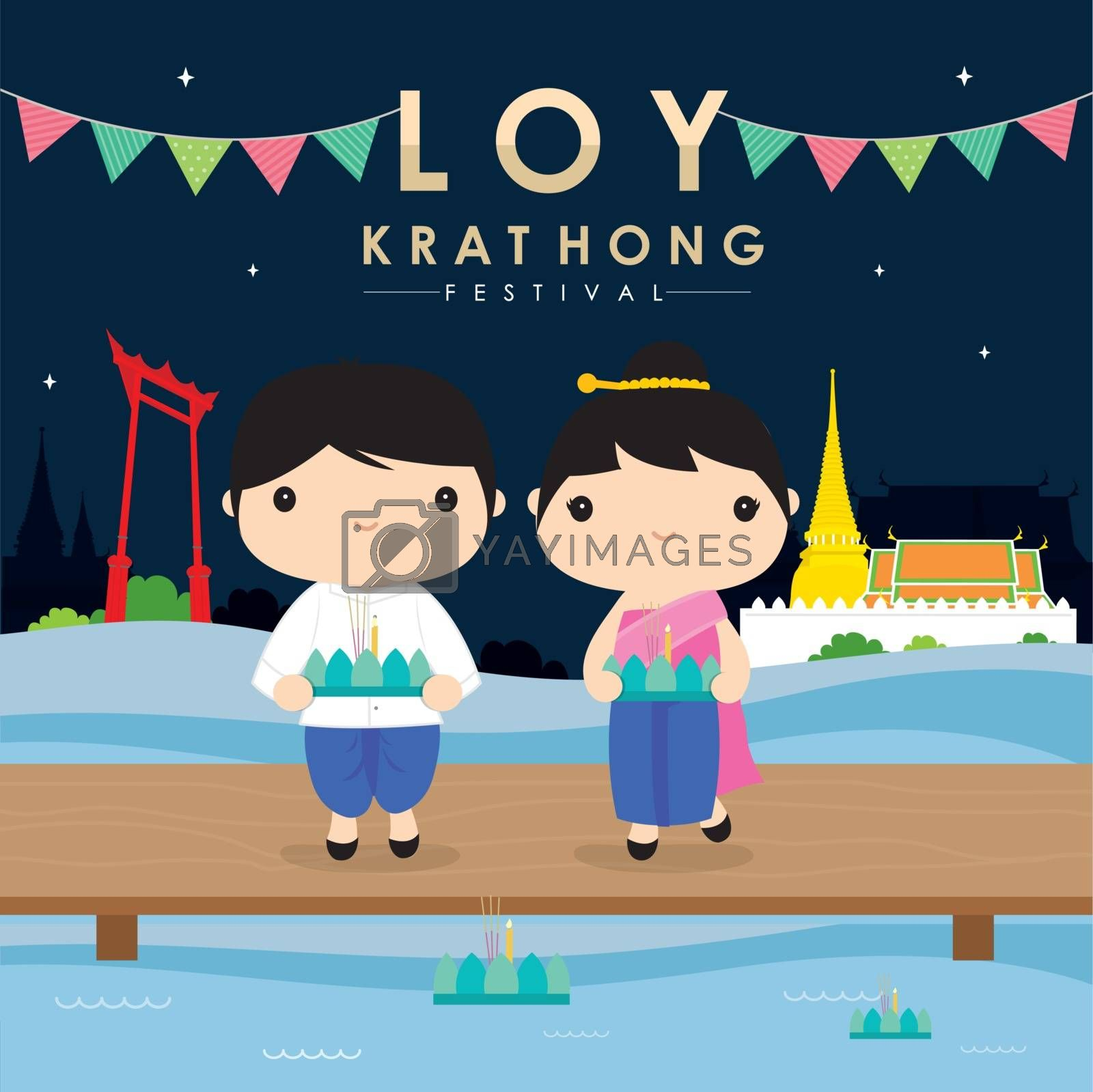 Loy Krathong is Traditional festival in Thailand, paying respect to the water spirits Vector.